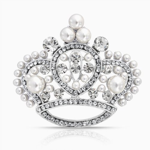 Bling Jewelry White Pearl Crystal Princess Crown