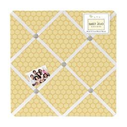 Yellow and White Fabric Memory/Memo Photo Bulletin Board for Honey Bumble Bee Collection