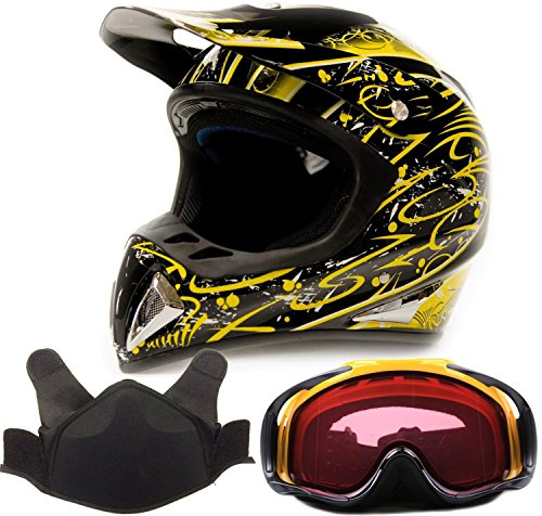 Adult Snocross Snowmobile Helmet & Goggle Combo - Yellow , Yellow ( XXL ) (Snow Machine Helmet compare prices)