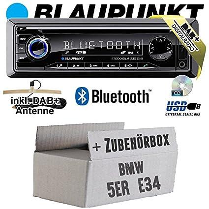 BMW 5er E34 - BLAUPUNKT Stockholm 230 DAB - DAB+/CD/MP3/USB Autoradio inkl. Bluetooth - Einbauset