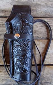 NEW! LEFT HANDED Black Leather Single Western Tooled Cowboy SASS Holster for 22 cal, 38/357 cal & 44/45 cal Gun Pistol BY GUNS4US***