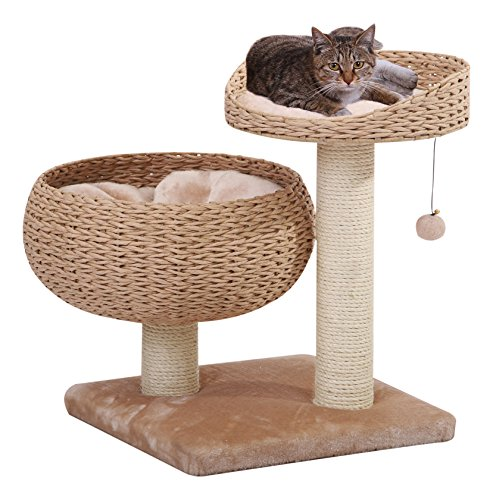 PETPALS GROUP Cozy Paper Rope Perch with Bowl Lounge, Plush Fleece Pillow and Duel Sisal Posts, 18 by 18 by 23-Inch