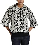 Kensie Women's Floral Tapestry Jacket,Black Mix,Small