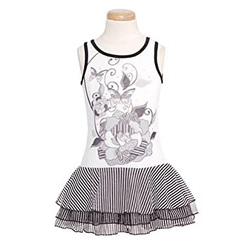 Lipstik Toddler Girls White Black Tank Stripe Skirt Summer Dress 3T