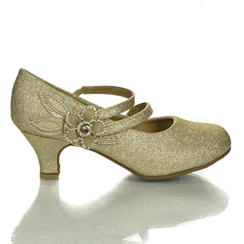 Maggie5 Champagne Children'S Sparkling Mary Jane Studded Flower Low Heel Pumps-10 front-501589