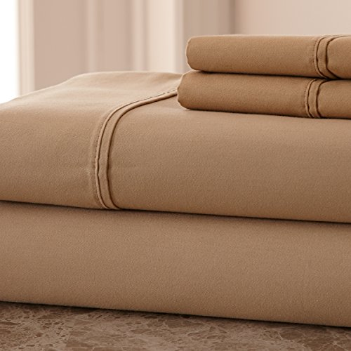 1000 Thread Count Cotton Rich SOLID HIGHEST QUALITY WRINKLE FREE, STAIN FREE & FADE RESISTANT BED SHEETS Queen Taupe Bedsheets (Hotel In New York compare prices)
