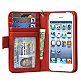 Navor iPhone Life Protective Deluxe Book Style Folio Wallet Leather Case for iPhone 5 & iPhone 5S ( Red )