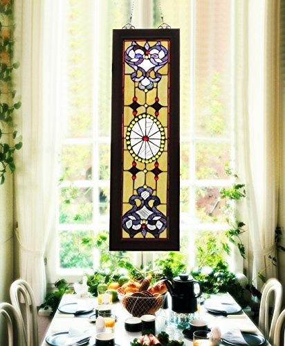 Makenier Vintage Tiffany Style Stained Church Art Glass Decorative Long and Narrow Window Panel Wall Hanging 2