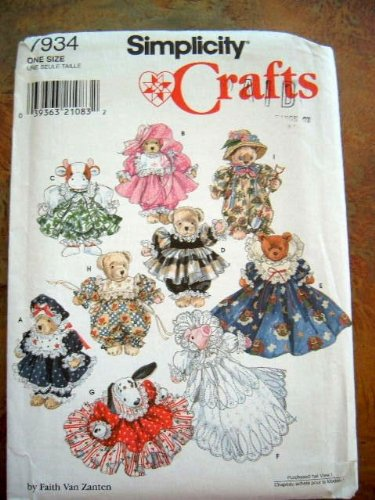 Simplicity 7934 Crafts Sewing Pattern Stuffed or Beanbag Animals