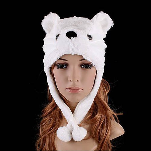 Cute Fluffy Plush Earmuff Warm Bear Cap Hat for Cold Winter-White (Bao Bao Bear compare prices)