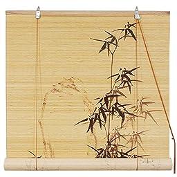 Oriental Furniture Black Bamboo Design Blinds (60 in. x 72 in.)