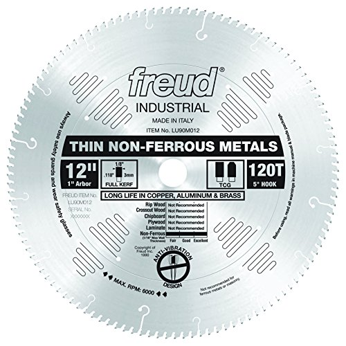 Freud LU90M012 12-Inch 120 Tooth TCG Thin Stock Non-Ferrous Metal Cutting Saw Blade with 1-Inch Arbor (12 Aluminum Blade compare prices)
