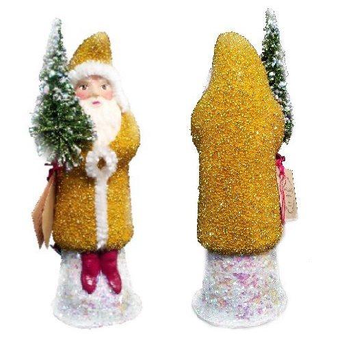Ino Schaller Paper Mache Santa in Yellow Beaded Coat Christmas Candy Container