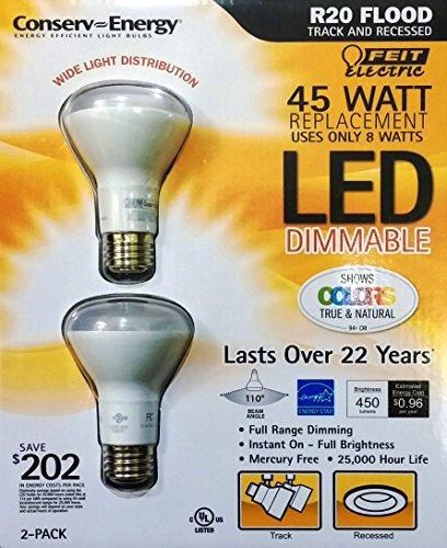 Feit 8 Watt R20 LED Dimmable Flood Light Bulbs,