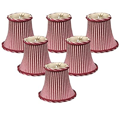Royal Designs Burgundy/Antique Gold Striped Chandelier Lamp Shade
