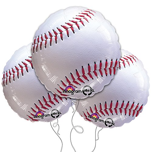 "Baseball 18"" Mylar Balloon 3pk"