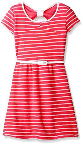 BTween Big Girls Short Sleeve Striped Dress with Belt, Coral/Ivory, 8