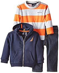 Nautica Baby Boys\' 3 Piece Set Fleece Long Sleeve Tee Denim Pant, Sport Navy, 12 Months