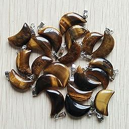 50Pcs/Lot Fashion Natural Tiger Eye Stone Moon Shape Charms Pendants