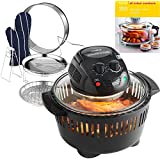 VonShef 12 LTR Black Premium Halogen Oven Cooker with Heat Resistant Basket & FREE 200 Page Recipe Book - Complete with Extender Ring (Up to 17 Litres), Lid Holder, Baking Tray, Steamer Tray, Skewers, Low Rack, High Rack, Glove