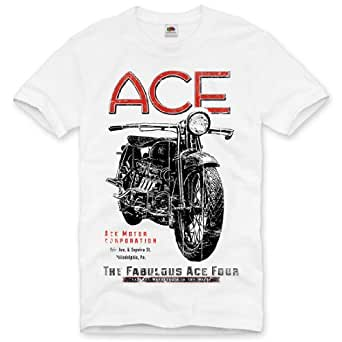 style3 moto motocycle ACE T-Shirt Homme Biker Bike tattoo tatouage, Taille:S;Couleur:Blanc