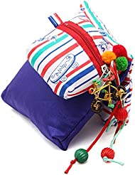 JaipurSe Pouch Bags Organized Multi Purpose Pack Of Three Blue And White Silk And Cotton