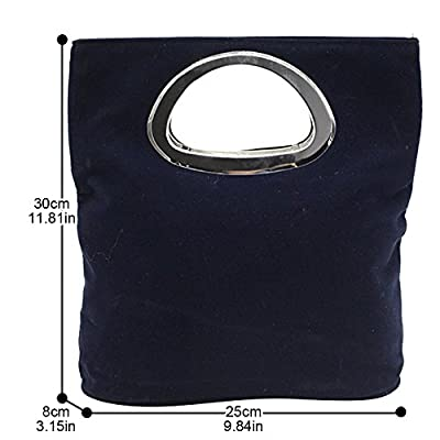 Wocharm Ladies Handbag Womens Suede Plain Tote Bag Foldable Evening Clutch Bag (Navy Blue) - more-bags
