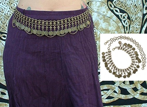 Antiqued Gold Coin & Chain Hip Belt