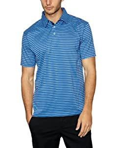 Tommy Hilfiger Men's Large Luther Performance Golf Polo Tee Shirt - Blue/Stripes