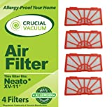 4-Pack Vacuum Filters Fits Neato XV-11 XV11 All Floor Robotic Vacuum Cleaner System; Compare to Neato Filter Part #945-0004 (9450004)