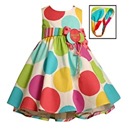 Bonnie Jean Baby Girls Polka Dot Balloon Birthday Dress , Multi , 12M