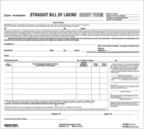 Rediform Bill of Lading, Snap-A-Way, Ruled, 4-Part, Carbonless, 8.5 x 7 Inches, 250 Individual Forms (44302)