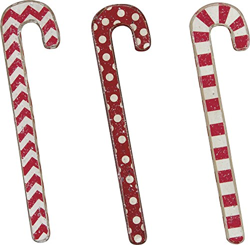 Set of 3 Wooden Candy Canes - Chevron, Stripes, Polka Dot - Christmas Decor Gift Idea - Cute - Primitives By Kathy, Phil Chapman