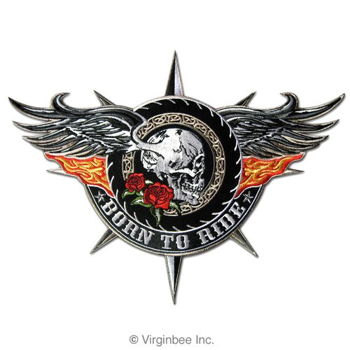 BORN TO RIDE BIG WINGED SKULL FLAMING WINGS TATTOO BIKER JACKET RIDER VEST PATCH
