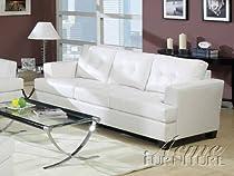 Big Sale Acme 15095B Diamond Bonded Leather Sofa with Wood Leg, White