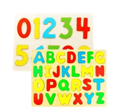 Elife Set of 2 Puzzles See-inside Wooden Alphabet and Numbers Figures Jigsaw Puzzles Peg