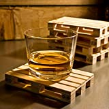 Janazala 4 Miniature Pallet Wood Beverage Coasters. Drink Coasters For Wine Glasses, Beer, Whiskey, Cocktail, Hot and Cold Drinks and Other Beverages. Suitable For Bar, Home and Office