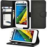 Moto G Case, Abacus24-7 Motorola Moto G Wallet Case [Book Fold] Leather Moto G Flip Cover with Folding Stand, Transparent ID holder, Credit Card Slots - Black Flip Case for Motorola Moto G, 2013 (1st Gen.)