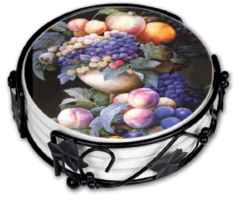 Redoute Grapes In A Vase Ceramic Drink Coaster Set