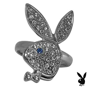 Playboy Ring Swarovski Crystal Bunny Logo Adjustable Size 5.5 to 9 Genuine Authentic Officially Licensed Playboy Jewelry Jewellery