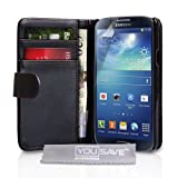 Samsung Galaxy S4 Case Black PU Leather Wallet Cover