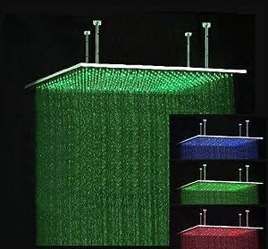 40 Rectangular Brushed Stainless Steel LED Rainfall Large Shower Head B