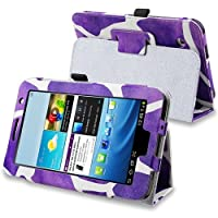 EForCity Leather Case With Stand Compatible With Samsung Galaxy Tab 2 7.0 P3100/ P3110 Purple Giraffe