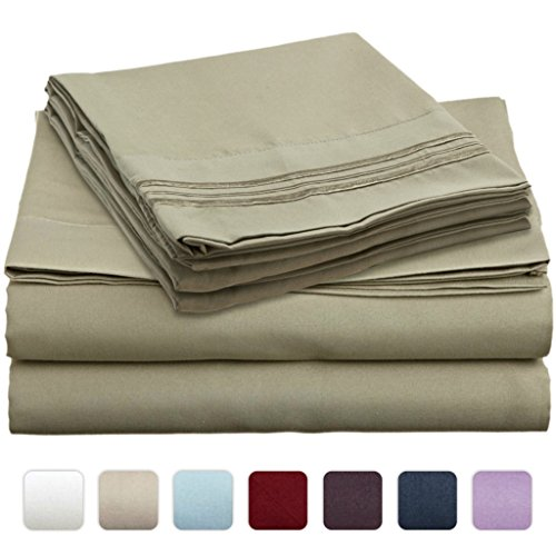 #1 Bed Sheet Set On Amazon - Super Silky Soft - Sale - Highest Quality 100% Brushed Microfiber 1800 Bedding Collections - Wrinkle, Fade, Stain Resistant - Hypoallergenic - Deep Pockets - Luxury Fitted & Flat Sheets, Pillowcases - Best For Bedroom, Guest R front-946244