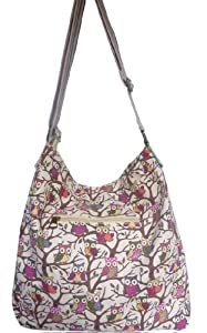 Girly HandBags New ladies washed cotton owl print messenger slouch bag shoulder bag