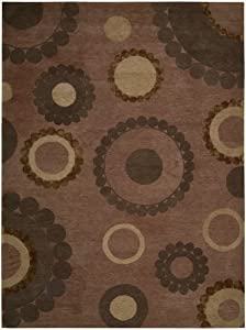 Nourison Mystique Pink Abstract 3.6-Feet by 5.6-Feet 100-Percent Wool Area Rug