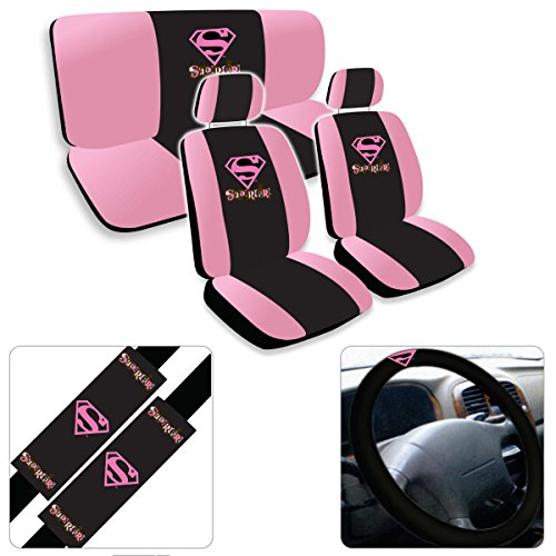 11Pc Supergirl Super Girl Pink Logo Low Back Seat Covers With Head Rest Cover...