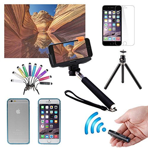 Eeekit Photographer 7-In-1 Kit For Apple Iphone 6 Plus 5.5 Inch, Aluminum Metal Protective Bumper Frame Hard Case Cover + Tempered Glass Screen Protector + Extendable Handheld Monopod + Retractable Rotating Tripod Stand Mount Holder + Adjustable Smartphon