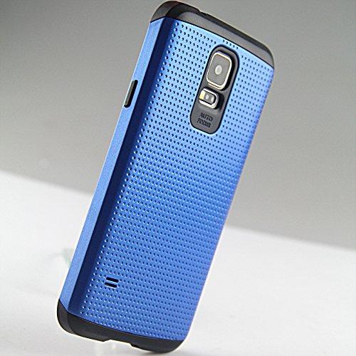 Galaxy S5 Case Blue -Samsung Galaxy S5 Case For Girls, Women, For Guys, Men, 2 Piece [By Luvly] + Free Japanese Material Hd Screen Protector Bonus + A Free Ebook[The Ultimate Galaxy S5 Guide(179 Pages)] - Premium Slim Fit Dual/2 Layer Hard Case- At&T, Ver