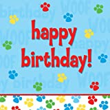 Creative Converting Paw-Ty Time Happy Birthday Luncheon Napkins, 18-Count